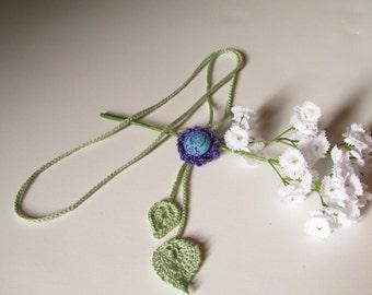 Long Necklace - Crochet Necklace - Handmade Jewelry -  Crochet Leaves - Czech Glass Button