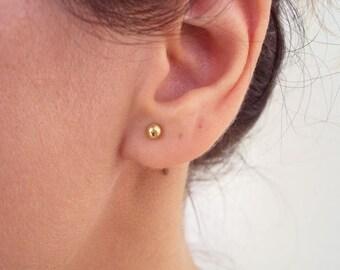 Gold Filled Stud Earrings, Tiny Gold Ball Stud Earrings, Tiny Dot Earrings, 14K Gold Filled Stud Earrings, Flower Girl Earrings