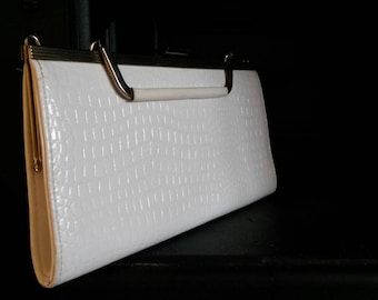 White Faux Crocodile Clutch With Folding Handle and Detachable Long Strap