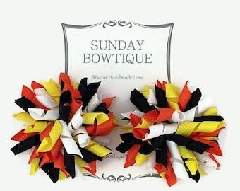 Candy Corn Korker Hair Bow, Korker Hair Bows, Set of 2 Medium, Black Orange Yellow White, Halloween Hair Bow, Halloween Costume, Bow