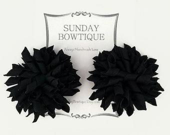 Black Korker Hair Bows, Set of 2 Medium, Hair Bow, Hairbow, Black Korker, Halloween Hair Clip, Black Hair Bow, Halloween Hair bow,