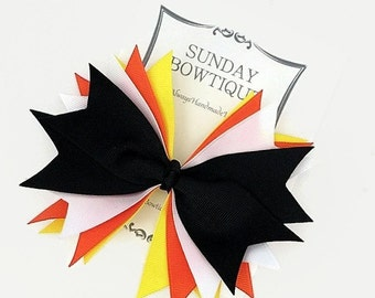 Halloween Hair Bow, Spiked Hair Bow, Large Hair Bow, Orange Yellow Black White Bow, Candy Corn Hair Bow, Halloween Costume, Hairbow