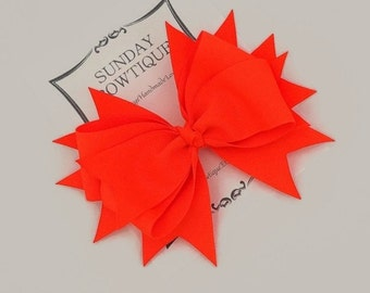 Neon Orange Hair Bow, Stacked Boutique Bow, Orange Boutique Bow, Orange Hair Bow, Neon Hair Bow, Fluorescent Hair Bow, Bright Hair Bow