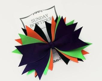 Halloween Hair Bow, Spiked Hair Bow, Witch Hair Bow, Purple Orange Black Neon Green, Halloween Costume, Halloween Bow, Large Hair Bow