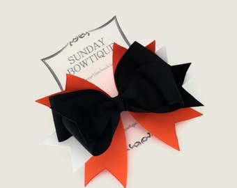 Black Hair Bow, Stacked Boutique Bow, Boutique Bow, Black Orange White Hair Bow, Halloween Hair Bow, Halloween Hair Clip, Tiger Bow