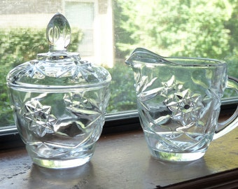 """Anchor Hocking """"Star of David"""" Early American Prescut Glass creamer and covered sugar set"""
