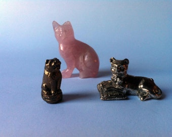 Lot of three miniature cats for collectibles-set of three cats vintage miniature Collectible
