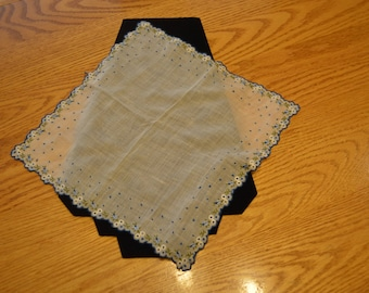1950's Vintage handkerchief with Blue Flowers