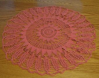 Beautiful Handmade Pink Crochet Doily