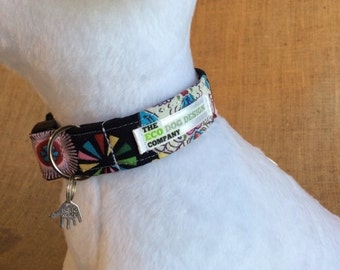 Sugar Skulls & Flowers Print Adjustable Dog Collar