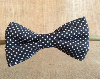 Black Spotty Dog Bow Tie
