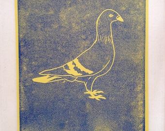 Linocut Dove yellow/blue