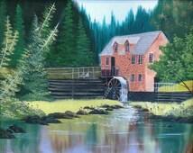 Landscape watermill Oil Painting Original