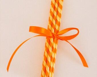 "Orange & Yellow Striped ""Candy Corn"" Paper Straws"