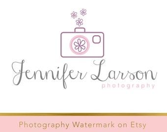 Instant download logo - Pre-made Logo - Photography Watermark - Camera Watermark - Whimsical Logo - Camera Logo - PSD - flower watermark 182