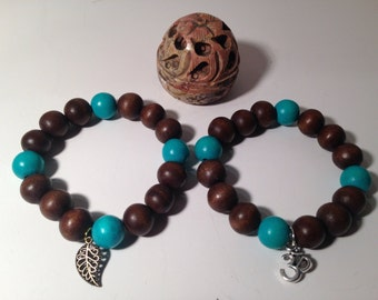 Brown and blue wood bead simple charm bracelet