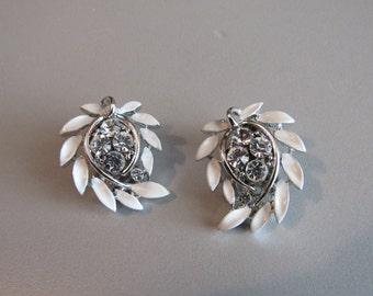 Lisner Wedding Whites Rhinestone and Enamel Earrings