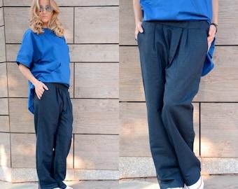 Women Loose Pants/ Linen Pants/ Loose Pants/ Palazzo Pants/ Plus Size Pants/ Wide Leg Pants/ Straight Pants/ Harem Trousers/ Baggy Trousers