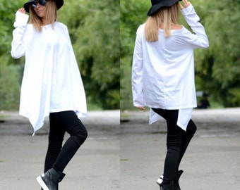 White Maxi Tunic/ White Top/ Oversize Tunic/ Long Sleeve Top/ Cotton Top/ Tunic Top/ Off Shoulder Top/ Summer Top/ White Shirt/ Loose Top