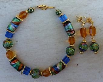 Lampwork Bead Bracelet & Earrings Set