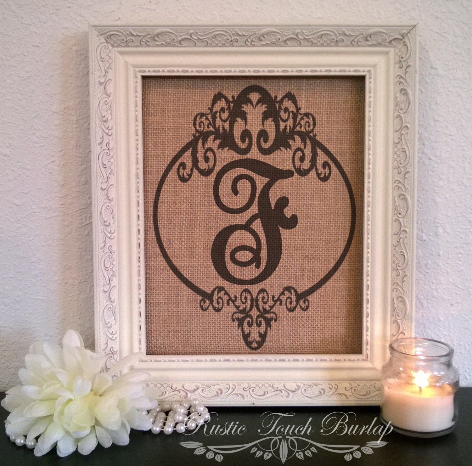 Rustic Monogram Wall Decor : Burlap wedding decor monogram cottage