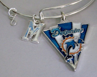 Miami Dolphin NFL CHARM Bangle W/ Initial Football Charm Bangle / Bracelet - Mlb Charm Bracelet - Gift For Her NFL  Bangle  sp1