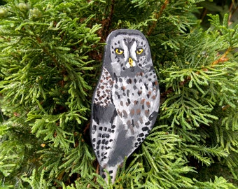 Great Grey Owl Hand Painted Wooden Brooch.