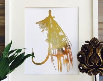 fishing, Fishing lure, Fishing Decor, Gold foil print, Fish hook, Office Wall Art, lake house decor, hunting decor, home decor,