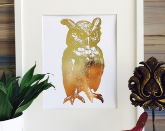 Owl Decor, Real Foiled Print Gold foil Print Owl Art Print