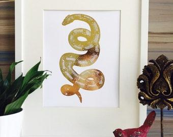 Real Gold Foil Snake Print Ball Python Print