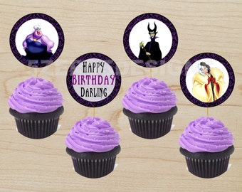 Disney Villain Cupcake Toppes, Disney Villain Party, Cupcake Toppers, Digital Download
