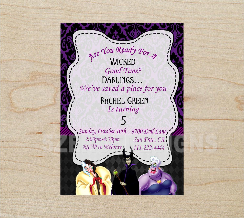 Disney Villain Invitation Disney Villain party Disney