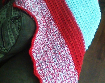 Red and White Crocheted Baby Blanket and Hat set