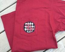 Auburn / Alabama Monogram Football pocket tee- pick your team colors!