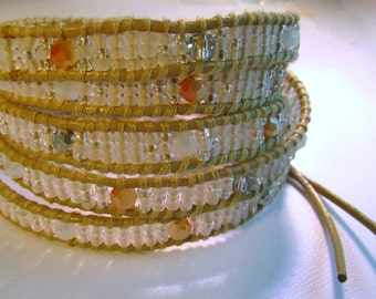 Pearl Seed Bead Leather Wrap Bracelet
