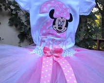 Pink Minnie Mouse 2nd Birthday Outfit Onesie Tutu and FREE Hair Bow