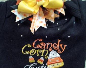 Thanksgiving Fall Halloween Candy Corn Cutie Toddler Little Girls Onesie