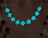 Glowing Necklace Flowers with Crystals - Aqua Flowers - Glow in the Dark Necklace - Glowing Jewelry - Floral Necklace - Flower Necklace