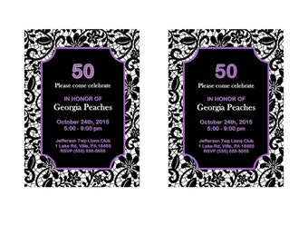 50th Birthday invitation purple and lace