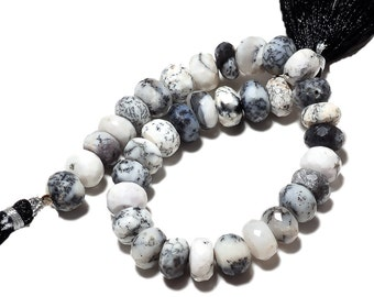 Dendrite Opal Bead, Faceted Rondelle beads, Natural Dendrite Opal, Opal Beads, 9mm Each, 4 Inch Half Strand, SKU-A68