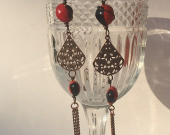 Red and Black Seed Earrings-Huayruru Seed Earrings-Bohemian Dangle Earrings
