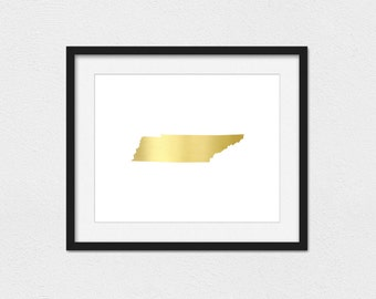 Tennessee Print // Instant Download // Printing Services Available // Faux Gold // Gold Tennessee // States // Tennessee // Custom Print