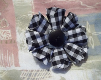 Medium Handmade Black and White Checkered Fabric Flower with Button Center Hair Barrette