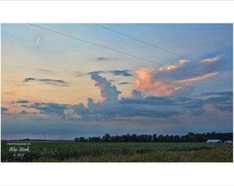 Dramatic Evening Sky, Farm Field, Jet Trail