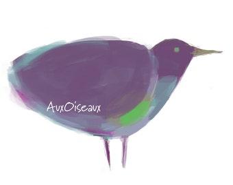 Oiseau mauve, turquoise, vert, dessin numérique original, impression de qualité, type giclée. Cadre non-inclus.
