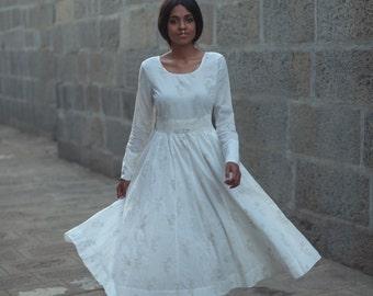 White dress Anarkali Hand Block Print Cotton