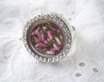 Ring real pink heather memory locket, soul window ring with real heather blossoms, pink heather ring, real heather glass ring