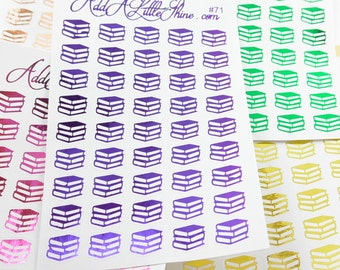 45 Foiled Shiny Metallic Books School Library Planner Stickers  [#71]