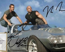 Fast and Furious, Vin Diesel, Paul Walker, signed autographed print on black card mount, or choice of frames