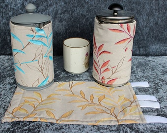 Gumnuts Collection Coffee pot cosy. Coffee plunger cosy. French press cosy. Washable hand painted cosy. Made in Australia